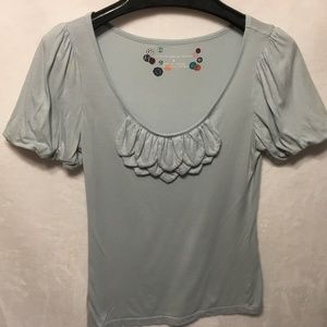 Little Yellow Button Size Small Pale Blue T-Shirt
